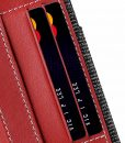 """Melkco Holmes Series Fine Grid Genuine Leather Dual Card slot with stand Case for Apple iPhone 7 / 8 Plus (5.5"""") – (Red)"""