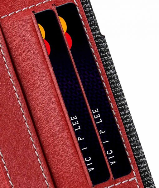 """Melkco Holmes Series Fine Grid Genuine Leather Dual Card slot with stand Case for Apple iPhone 7 / 8 Plus (5.5"""") - (Red)"""