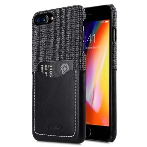 "Melkco Holmes Series Fine Grid Genuine Leather Snap Cover with Card slot Case for Apple iPhone 7 / 8 Plus (5.5"") - (Black)"
