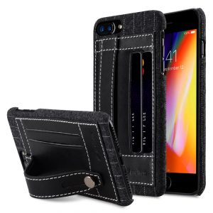 """Melkco Holmes Series Heri Genuine Leather Dual Card slot with stand Case for Apple iPhone 7 / 8 Plus (5.5"""") - (Black)"""