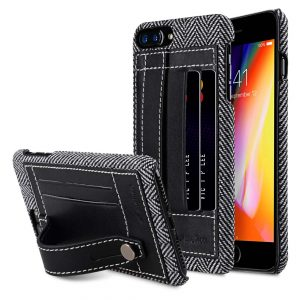 """Melkco Holmes Series Venis Genuine Leather Dual Card slot with stand Case for Apple iPhone 7 / 8 Plus (5.5"""") - (Black)"""