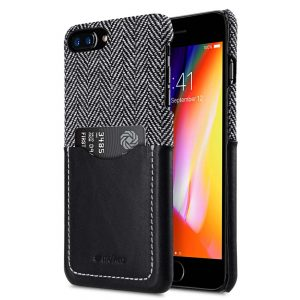 """Melkco Holmes Series Venis Genuine Leather Snap Cover with Card slot Case for Apple iPhone 7 / 8 Plus (5.5"""") - (Black)"""