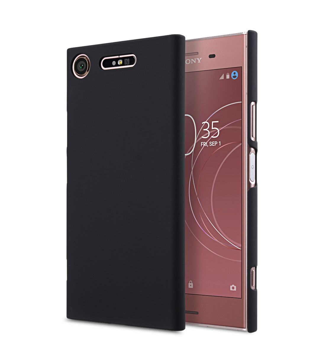 rubberized pc cover for sony xperia xz1 compact black. Black Bedroom Furniture Sets. Home Design Ideas