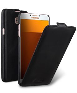 Melkco Premium Leather Case for Samsung Galaxy C7 Pro - Jacka Type ( Vintage Black )
