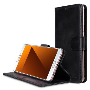 Premium Leather Case for Samsung Galaxy C7 Pro - Wallet Book Clear Type Stand