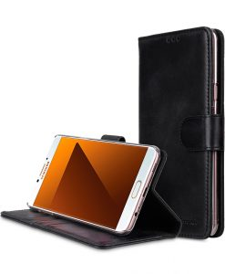 Melkco Premium Leather Case for Samsung Galaxy C7 Pro - Wallet Book Clear Type Stand ( Vintage Black )