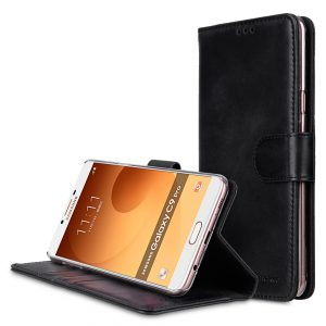 Premium Leather Case for Samsung Galaxy C9 Pro - Wallet Book Clear Type Stand