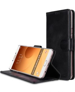 Melkco Premium Leather Case for Samsung Galaxy C9 Pro - Wallet Book Clear Type Stand ( Vintage Black )