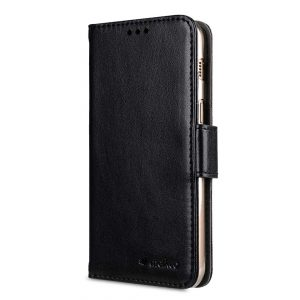 PU Leather Wallet Book Clear Type Case for Samsung Galaxy A5 (2017) - (Black PU)