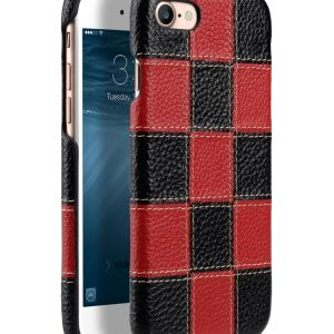 """Melkco Patchwork Series Premium Leather Snap Cover for Apple iPhone 7 / 8 (4.7"""") - Black LC / Red LC"""