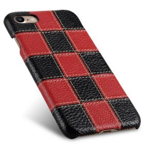 """Melkco Patchwork Series Premium Leather Snap Cover for Apple iPhone 7 / 8 (4.7"""") – Black LC / Red LC"""