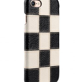 """Melkco Patchwork Series Premium Leather Snap Cover for Apple iPhone 7 / 8 (4.7"""") – Black LC / White LC"""