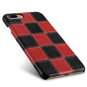 """Melkco Patchwork Series Premium Leather Snap Cover for Apple iPhone 7 / 8 Plus (5.5"""") – Black LC / Red LC"""