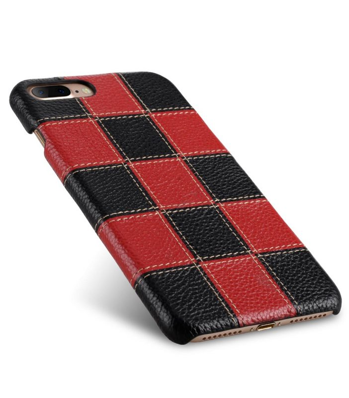 """Melkco Patchwork Series Premium Leather Snap Cover for Apple iPhone 7 / 8 Plus (5.5"""") - Black LC / Red LC"""