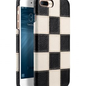 """Melkco Patchwork Series Premium Leather Snap Cover for Apple iPhone 7 / 8 Plus (5.5"""") – Black LC / White LC"""