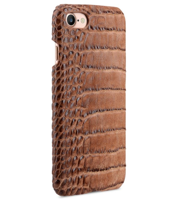 "Melkco Mini PU Leather Snap Cover for Apple iPhone 7 / 8 (4.7"") - (Light Brown Crocodile Pattern PU)"