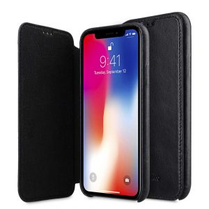 Melkco Elite Series Waxfall Pattern Premium Leather Coaming Facecover Back Slot Case for Apple iPhone X - (Black WF)