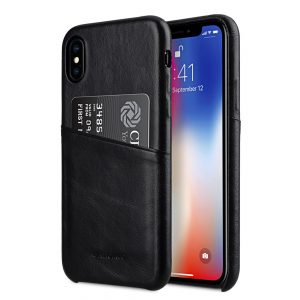 Melkco Elite Series Waxfall Pattern Premium Leather Coaming Pocket Case for Apple iPhone X - (Black WF)