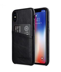 Melkco Elite Series Waxfall Pattern Premium Leather Coaming Pocket Case for Apple iPhone X - (Black WF)