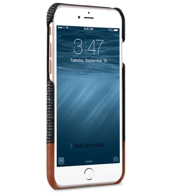 """Melkco Holmes Series Fine Grid Cloth Snap Cover Case for Apple iPhone 7 / 8 (4.7"""") - (Dark Grey / Brown)"""