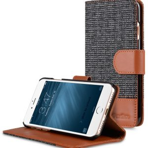"Melkco Holmes Series Fine Grid Cloth Wallet Book Style Case for Apple iPhone 7 / 8 (4.7"") - (Dark Grey / Brown)"