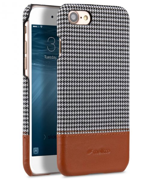 """Melkco Holmes Series Tobacco Cloth Snap Cover Case for Apple iPhone 7 / 8 (4.7"""") - ( Grey / Brown )"""