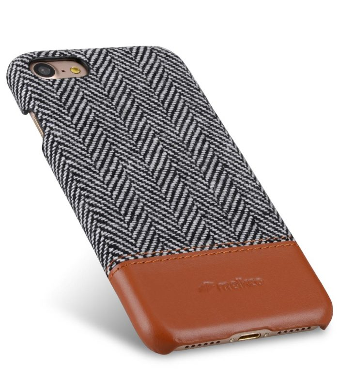 """Melkco Holmes Series Twill Cloth Snap Cover Case for Apple iPhone 7 / 8 (4.7"""") - ( Dark Grey / Brown )"""
