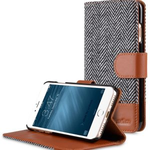 "Melkco Holmes Series Twill Cloth Wallet Book Style Case for Apple iPhone 7 / 8 (4.7"") - ( Dark Grey / Brown )"