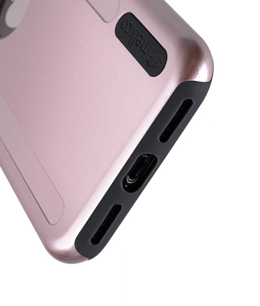 Melkco Kubalt Series Double Layer Pro (Apple Logo Visible) Case for Apple iPhone X - ( Rose Gold / Black )