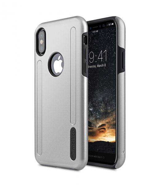 Melkco Kubalt Double Layer Pro (Apple Logo Visible) Case for Apple iPhone X - ( Silver / Black )