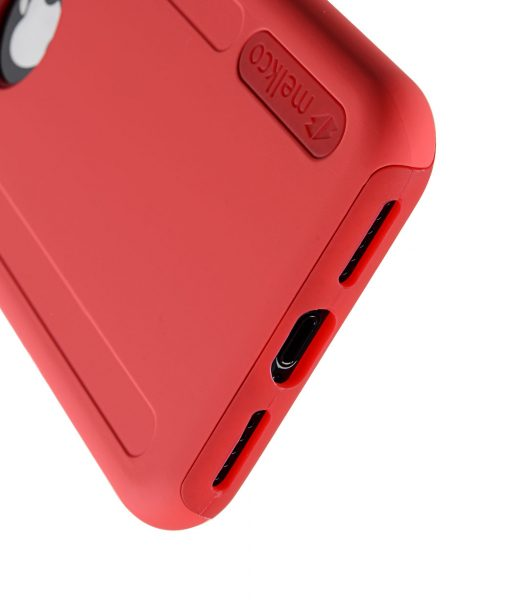 Melkco Kubalt Series Double Layer Pro (Apple Logo Visible) Case for Apple iPhone X - ( Red / Red )