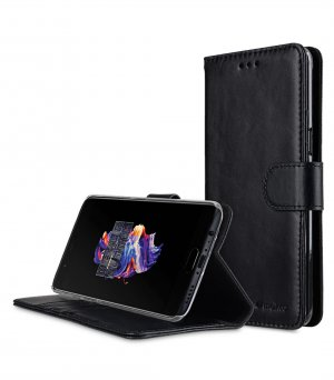 Premium Leather Case for OnePlus 5 - Wallet Book Clear Type Stand