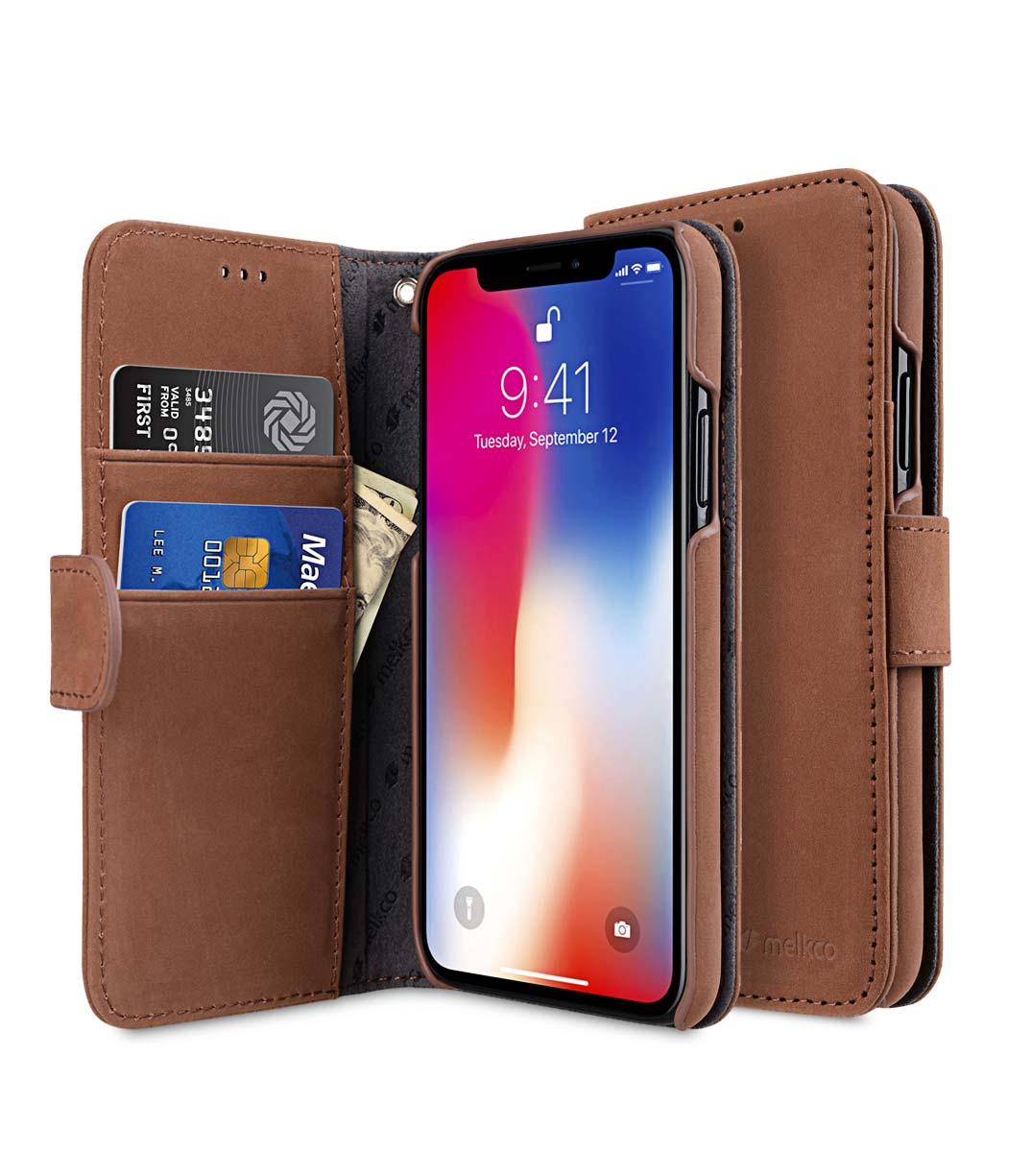wholesale dealer 78859 3a665 Premium Leather Case for Apple iPhone X / XS - Wallet Book Type (Classic  Vintage Brown)