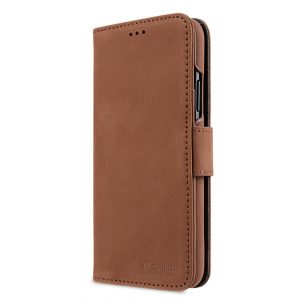 Melkco Premium Leather Case for Apple iPhone X - Wallet Book Type (Classic Vintage Brown)