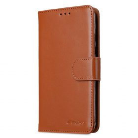Premium Leather Case for Motorola Moto G5 Plus – Wallet Book Clear Type Stand (Brown CH)