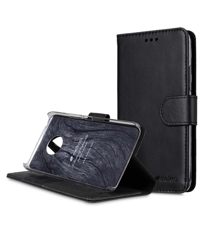 Premium Leather Case for Motorola Moto G5 Plus - Wallet Book Clear Type Stand