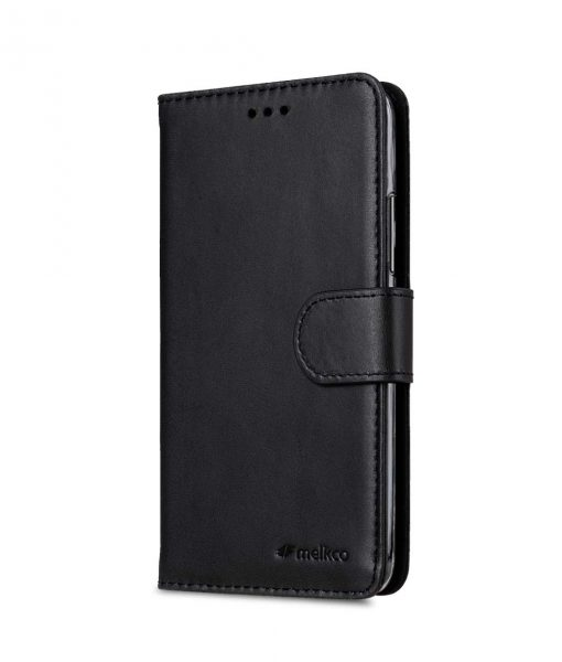 Premium Leather Case for Motorola Moto G5 Plus - Wallet Book Clear Type Stand (Vintage Black)