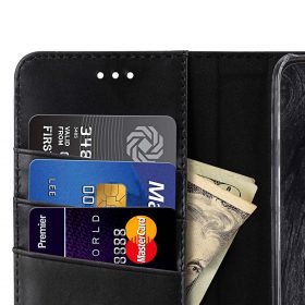 Premium Leather Case for Motorola Moto G5 Plus – Wallet Book Clear Type Stand (Vintage Black)
