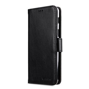 Melkco PU Leather Wallet Book Clear Type Case for Samsung Galaxy A8 (2018) - (Black)