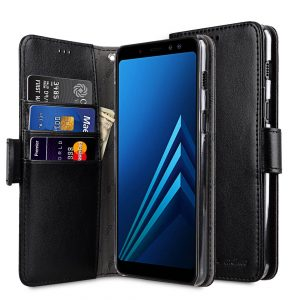 Melkco PU Leather Wallet Book Clear Type Case for Samsung Galaxy A8 Plus (2018) - (Black)
