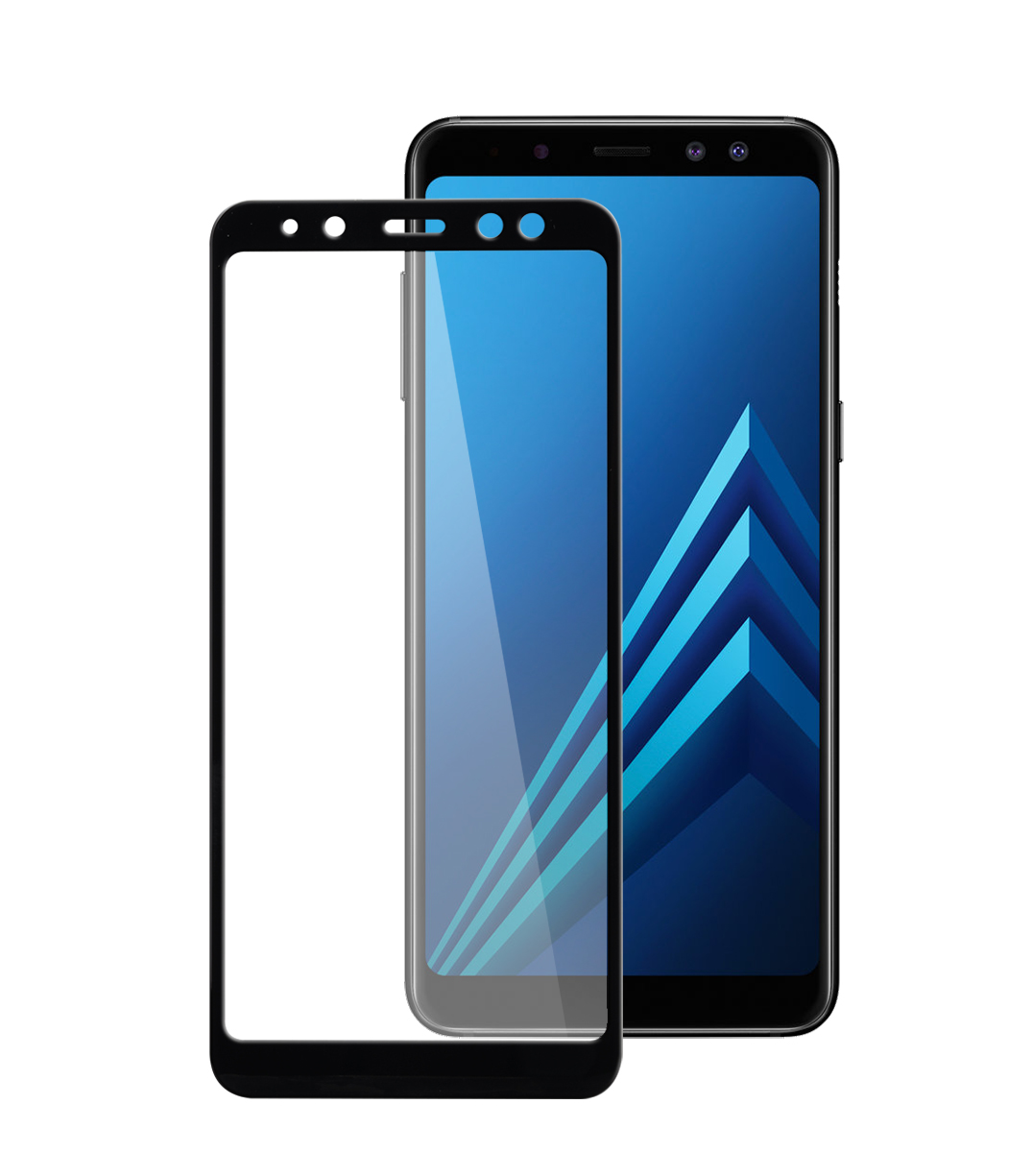 3d curvy 9h tempered glass screen protector for samsung galaxy a8 2018 black. Black Bedroom Furniture Sets. Home Design Ideas