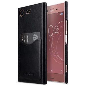 Melkco Premium Leather Card Slot Cover Case for Sony Xperia XZ1 Compact - (Black) Ver.2