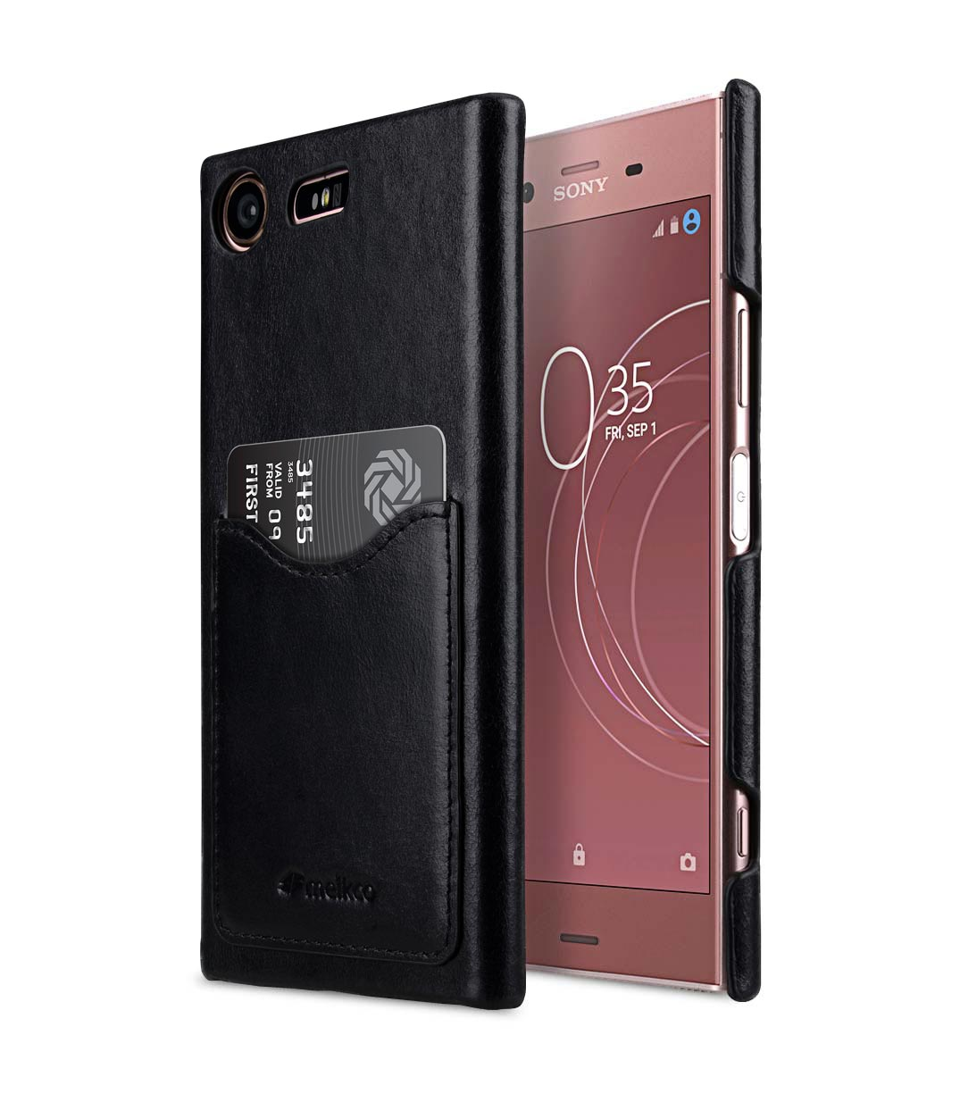 premium leather card slot cover case for sony xperia xz1 compact. Black Bedroom Furniture Sets. Home Design Ideas