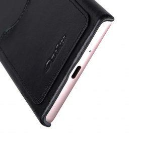 Melkco Premium Leather Card Slot Cover  Case for Sony Xperia XZ1 Compact – (Black) Ver.2