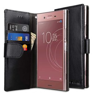 Melkco PU Leather Case for Sony Xperia XZ1 Compact - Wallet Book Clear Type (Black)