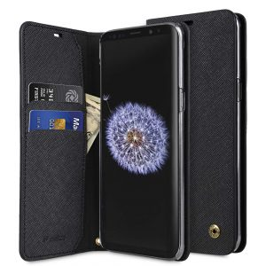 Melkco Fashion Cocktail Series Cross Pattern Premium Leather Slim Flip Type Case for Samsung Galaxy S9 Plus - (Black CP)