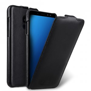 Melkco Premium Leather Case for Samsung Galaxy A8 Plus (2018) - Jacka Type (Black)