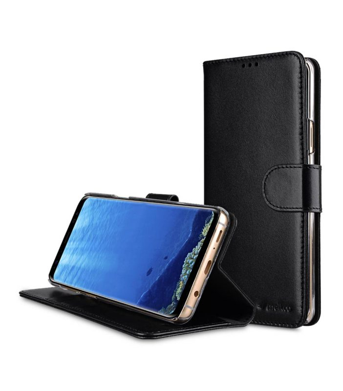 Premium Leather Case for Samsung Galaxy S9 Plus - Wallet Book Clear Type Stand