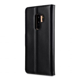 Melkco Premium Leather  Case for Samsung Galaxy S9 Plus – Wallet Book Clear Type Stand (Black)