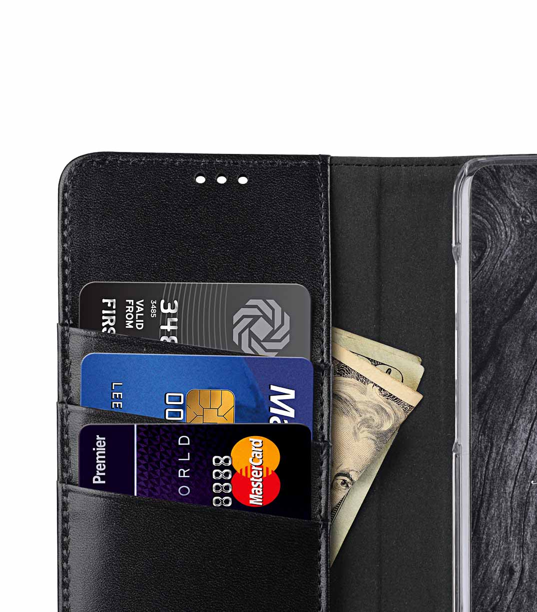 Melkco Premium Leather Case for Samsung Galaxy S9 Plus - Wallet Book Clear Type Stand (Black)